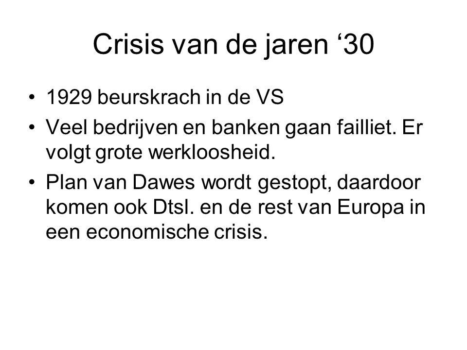 Crisis van de jaren '30 1929 beurskrach in de VS Veel bedrijven en banken gaan failliet. Er volgt grote werkloosheid. Plan van Dawes wordt gestopt, da