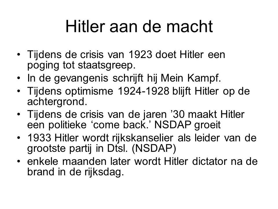 Hitler aan de macht Tijdens de crisis van 1923 doet Hitler een poging tot staatsgreep. In de gevangenis schrijft hij Mein Kampf. Tijdens optimisme 192