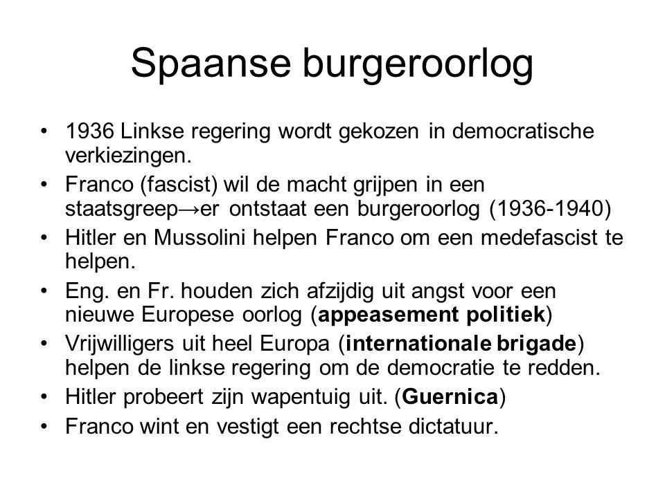 Spaanse burgeroorlog 1936 Linkse regering wordt gekozen in democratische verkiezingen. Franco (fascist) wil de macht grijpen in een staatsgreep→er ont