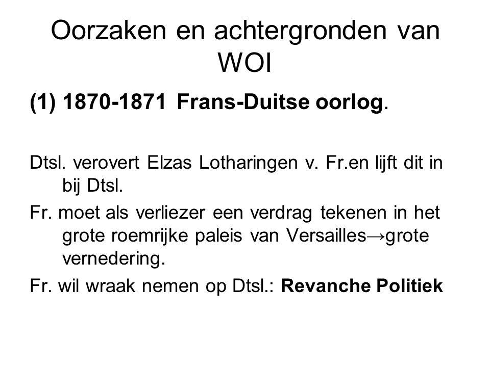 Oorzaken en achtergronden van WOI (1)1870-1871Frans-Duitse oorlog. Dtsl. verovert Elzas Lotharingen v. Fr.en lijft dit in bij Dtsl. Fr. moet als verli