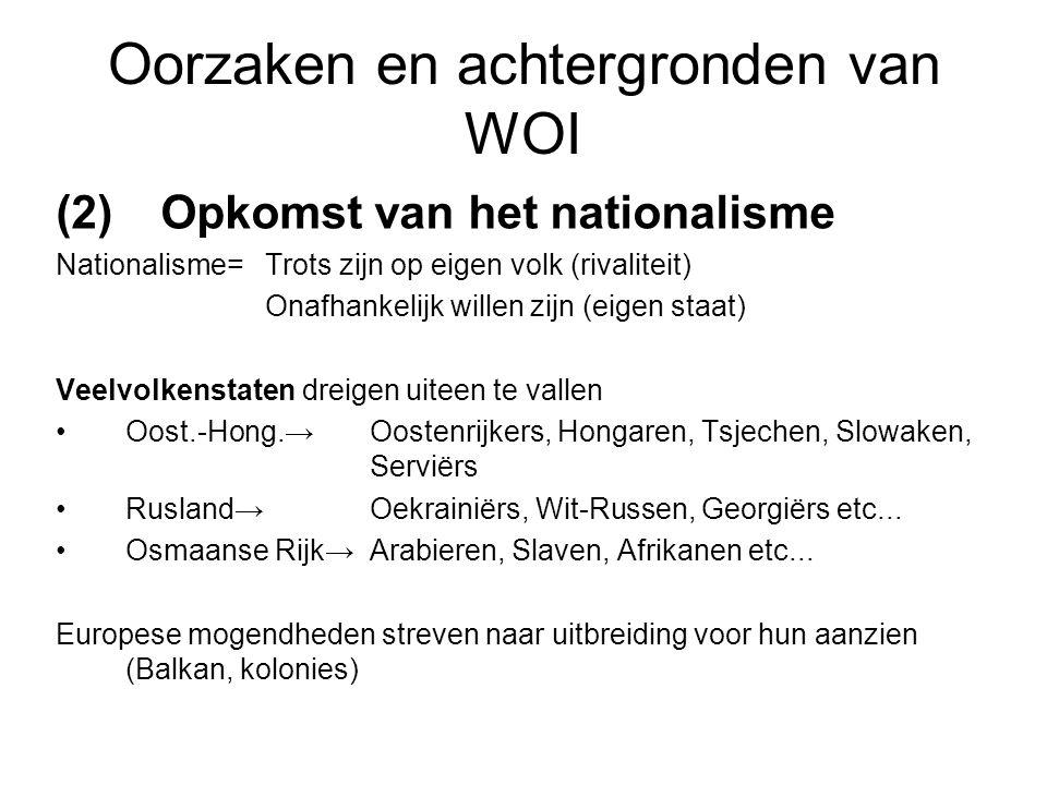 Oorzaken en achtergronden van WOI (2) Opkomst van het nationalisme Nationalisme=Trots zijn op eigen volk (rivaliteit) Onafhankelijk willen zijn (eigen