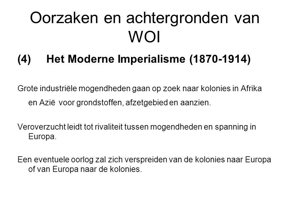 Oorzaken en achtergronden van WOI (4) Het Moderne Imperialisme (1870-1914) Grote industriële mogendheden gaan op zoek naar kolonies in Afrika en Azië