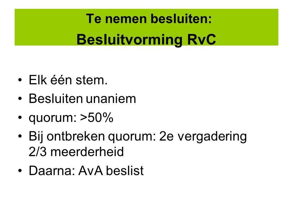 Te nemen besluiten: Besluitvorming RvC Elk één stem.