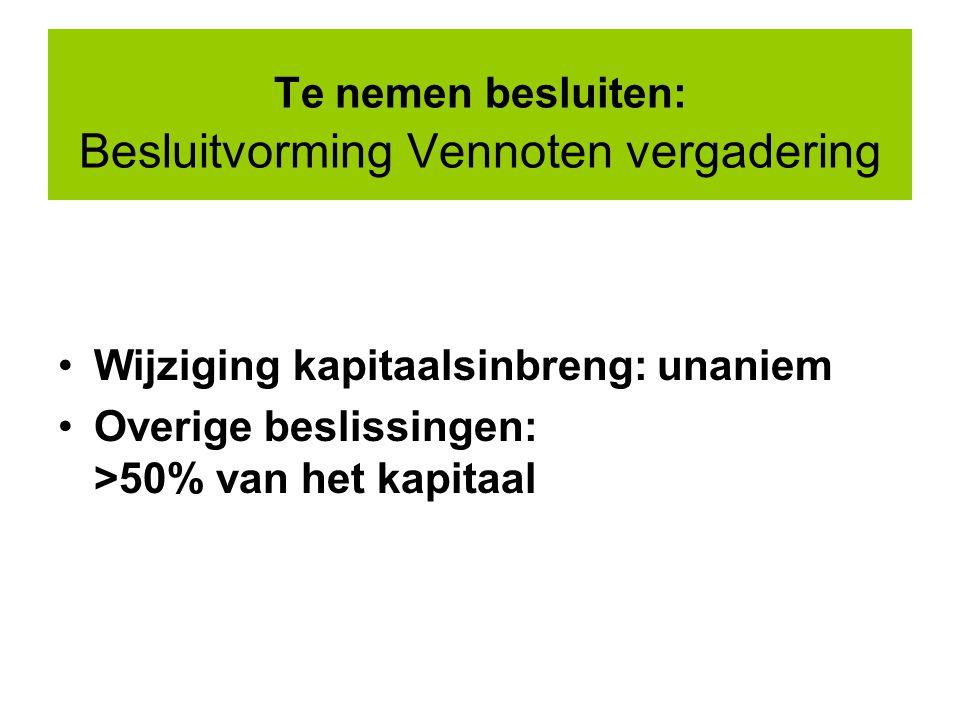 Te nemen besluiten: Besluitvorming Vennoten vergadering Wijziging kapitaalsinbreng: unaniem Overige beslissingen: >50% van het kapitaal