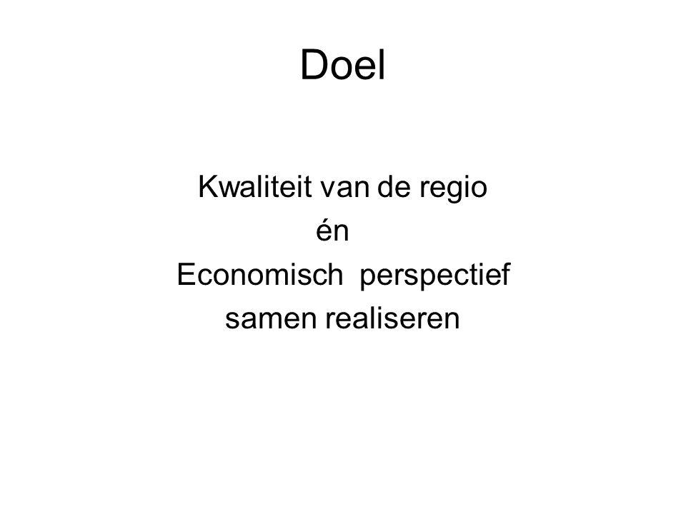 Doel Kwaliteit van de regio én Economisch perspectief samen realiseren