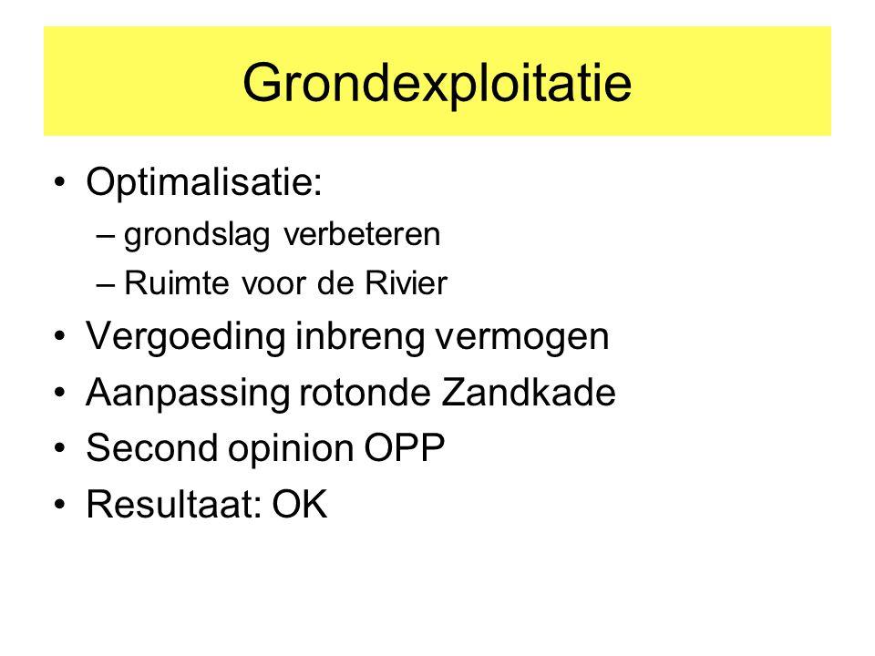 Grondexploitatie Optimalisatie: –grondslag verbeteren –Ruimte voor de Rivier Vergoeding inbreng vermogen Aanpassing rotonde Zandkade Second opinion OPP Resultaat: OK