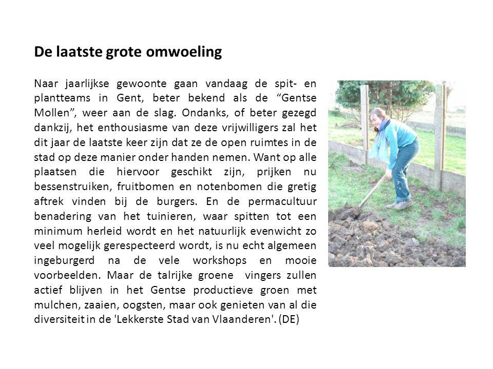 De laatste grote omwoeling Naar jaarlijkse gewoonte gaan vandaag de spit- en plantteams in Gent, beter bekend als de Gentse Mollen , weer aan de slag.
