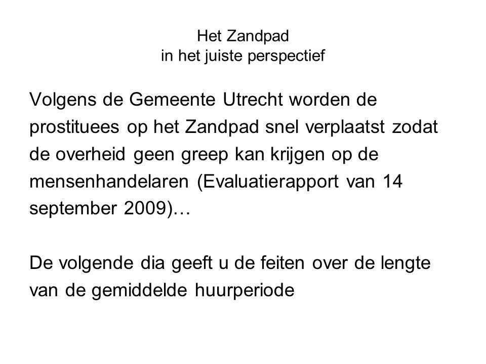 Het Zandpad in het juiste perspectief Volgens de Gemeente Utrecht worden de prostituees op het Zandpad snel verplaatst zodat de overheid geen greep ka