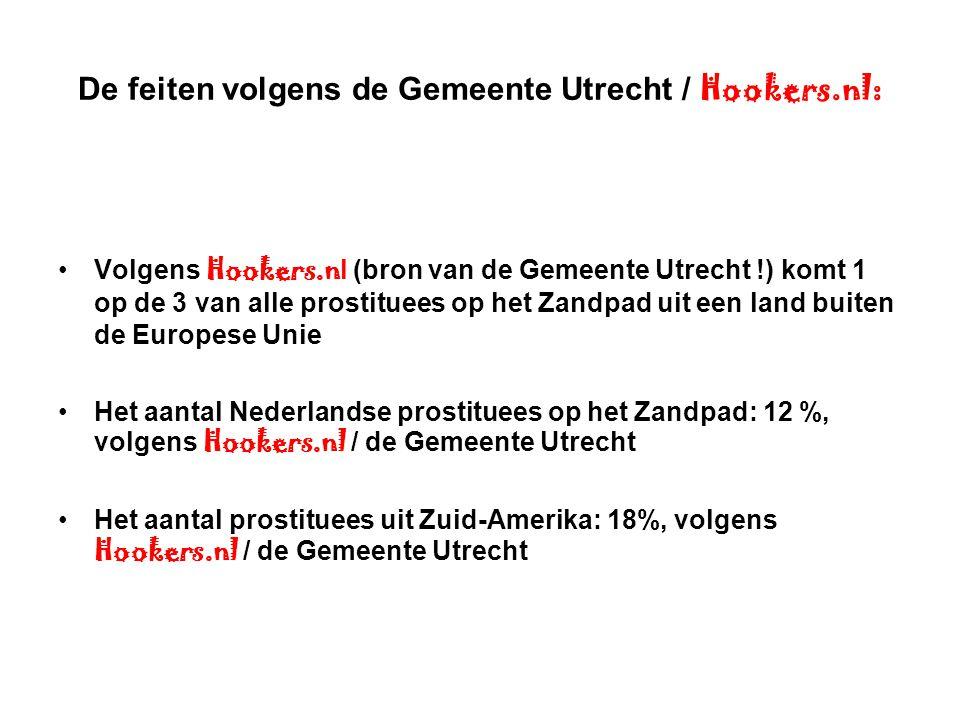 De feiten volgens de Gemeente Utrecht / Hookers.nl: Volgens Hookers.n l (bron van de Gemeente Utrecht !) komt 1 op de 3 van alle prostituees op het Za