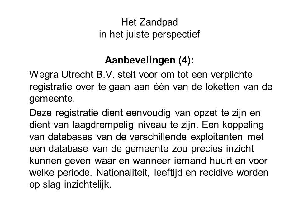 Het Zandpad in het juiste perspectief Aanbevelingen (4): Wegra Utrecht B.V. stelt voor om tot een verplichte registratie over te gaan aan één van de l