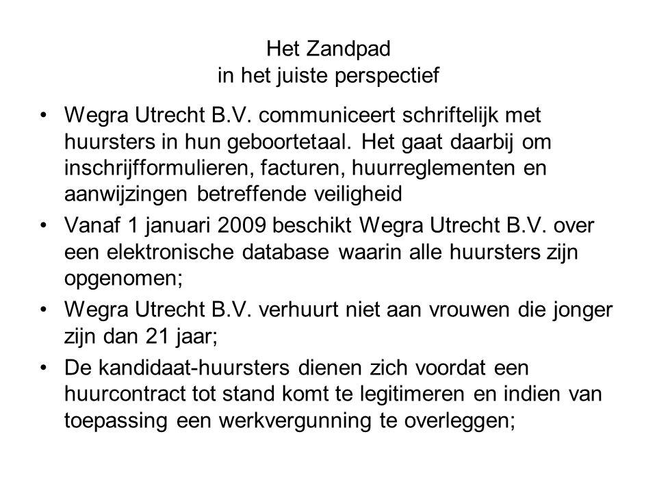 Het Zandpad in het juiste perspectief Wegra Utrecht B.V. communiceert schriftelijk met huursters in hun geboortetaal. Het gaat daarbij om inschrijffor
