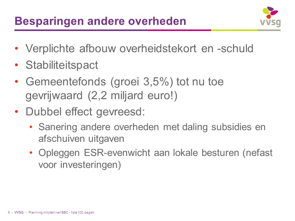 VVSG - Besparingen andere overheden Verplichte afbouw overheidstekort en -schuld Stabiliteitspact Gemeentefonds (groei 3,5%) tot nu toe gevrijwaard (2