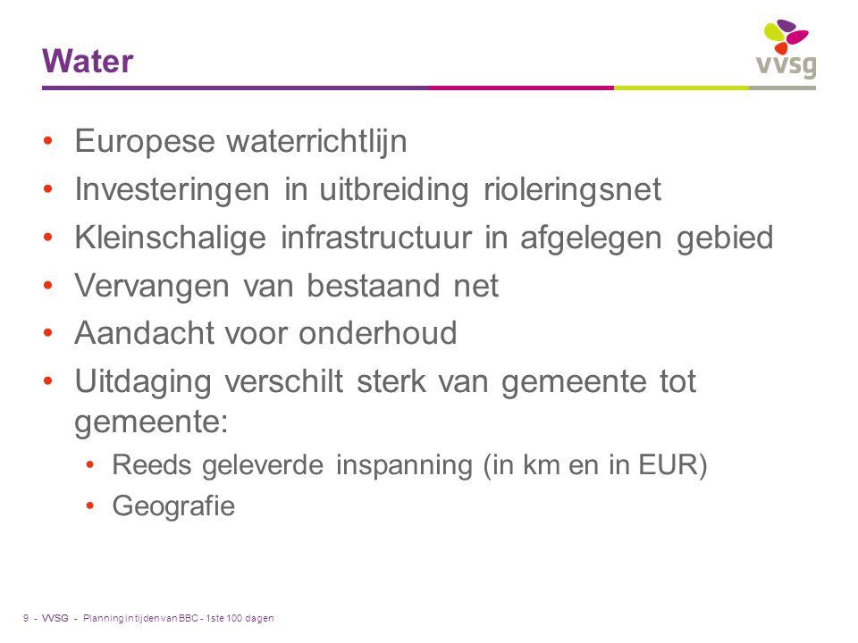 VVSG - Water Europese waterrichtlijn Investeringen in uitbreiding rioleringsnet Kleinschalige infrastructuur in afgelegen gebied Vervangen van bestaan