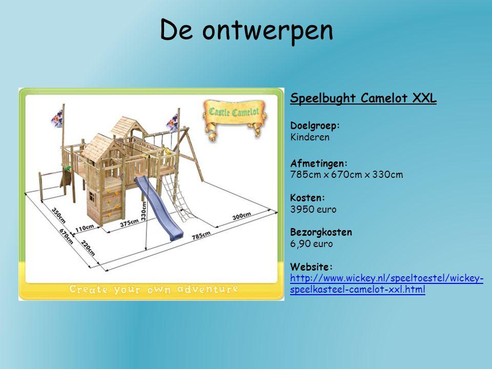 De ontwerpen Speelbught Camelot XXL Doelgroep: Kinderen Afmetingen: 785cm x 670cm x 330cm Kosten: 3950 euro Bezorgkosten 6,90 euro Website: http://www