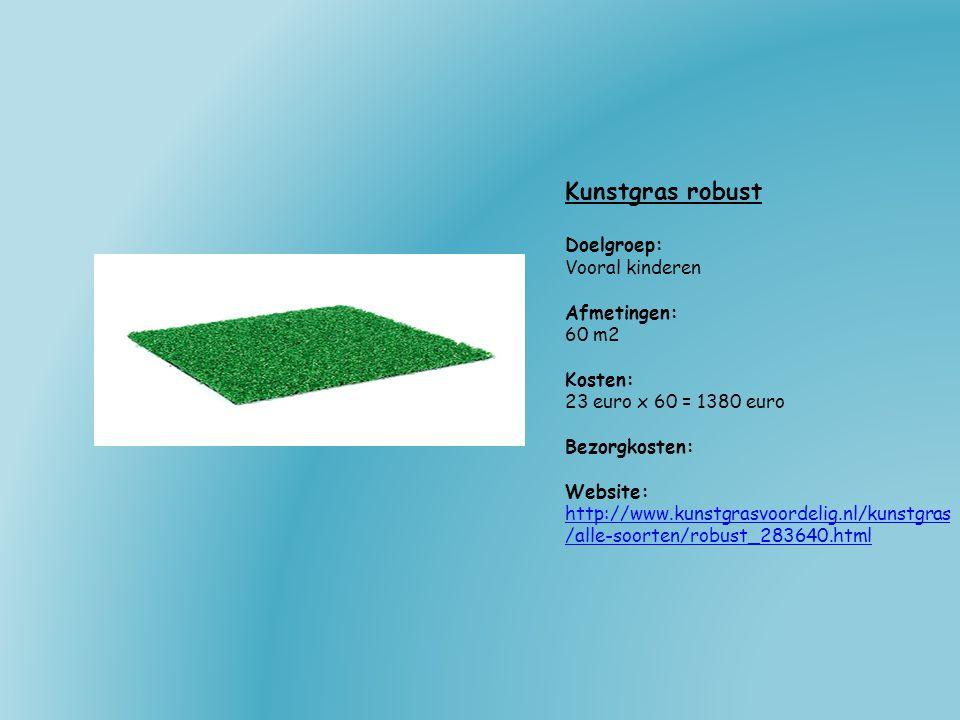 Kunstgras robust Doelgroep: Vooral kinderen Afmetingen: 60 m2 Kosten: 23 euro x 60 = 1380 euro Bezorgkosten: Website: http://www.kunstgrasvoordelig.nl