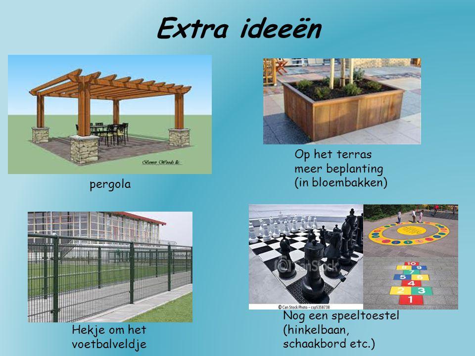 Extra ideeën pergola Op het terras meer beplanting (in bloembakken) Hekje om het voetbalveldje Nog een speeltoestel (hinkelbaan, schaakbord etc.)