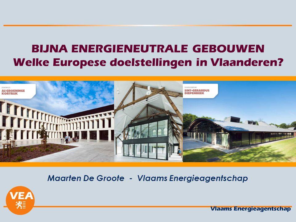BIJNA ENERGIENEUTRALE GEBOUWEN Welke Europese doelstellingen in Vlaanderen? Maarten De Groote - Vlaams Energieagentschap