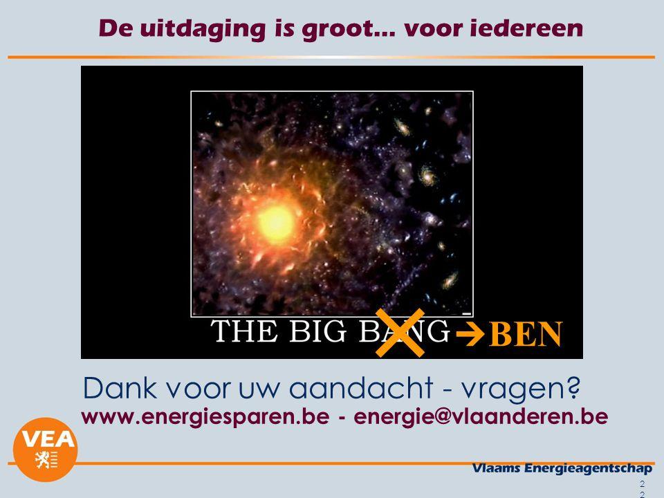 22 De uitdaging is groot… voor iedereen Dank voor uw aandacht - vragen? www.energiesparen.be - energie@vlaanderen.be  BEN