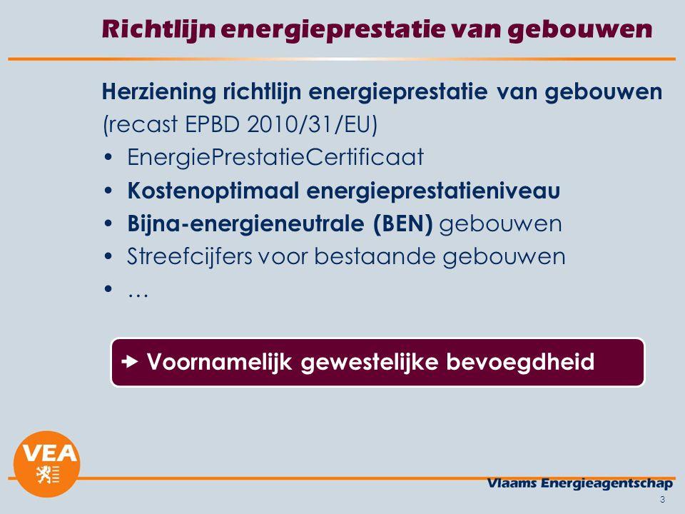 3 Richtlijn energieprestatie van gebouwen Herziening richtlijn energieprestatie van gebouwen (recast EPBD 2010/31/EU) EnergiePrestatieCertificaat Kost