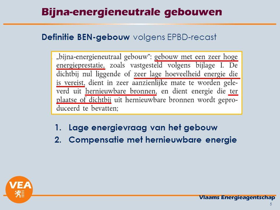 5 Bijna-energieneutrale gebouwen Definitie BEN-gebouw volgens EPBD-recast 1.Lage energievraag van het gebouw 2.Compensatie met hernieuwbare energie