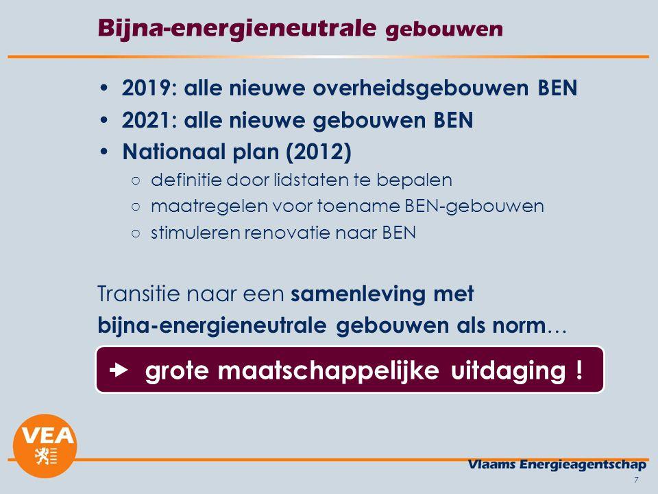 7 Bijna-energieneutrale gebouwen 2019: alle nieuwe overheidsgebouwen BEN 2021: alle nieuwe gebouwen BEN Nationaal plan (2012) ○definitie door lidstate