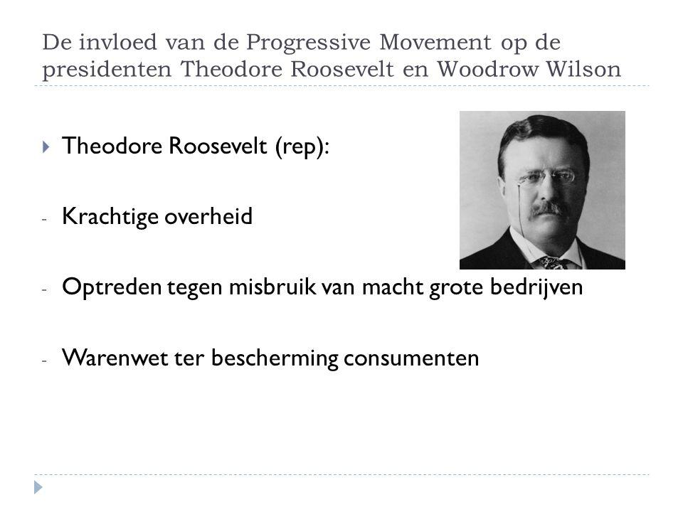 De invloed van de Progressive Movement op de presidenten Theodore Roosevelt en Woodrow Wilson  Theodore Roosevelt (rep): - Krachtige overheid - Optreden tegen misbruik van macht grote bedrijven - Warenwet ter bescherming consumenten