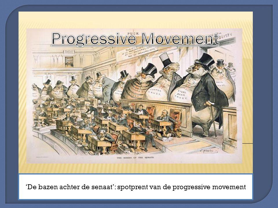 'De bazen achter de senaat': spotprent van de progressive movement