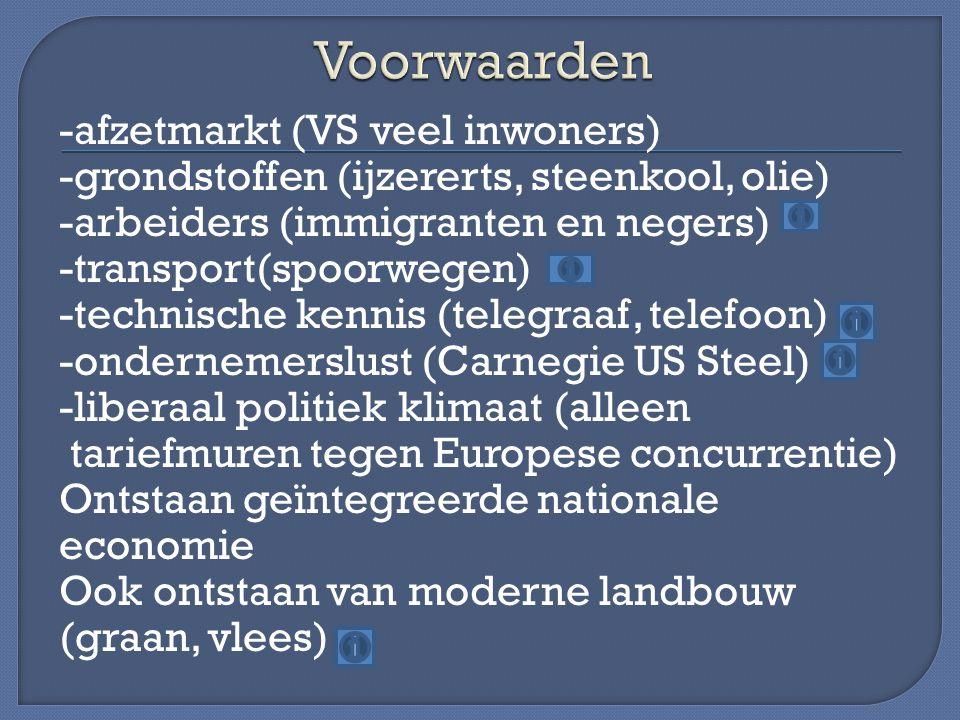 -afzetmarkt (VS veel inwoners) -grondstoffen (ijzererts, steenkool, olie) -arbeiders (immigranten en negers) -transport(spoorwegen) -technische kennis