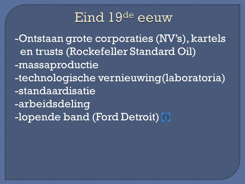 -Ontstaan grote corporaties (NV's), kartels en trusts (Rockefeller Standard Oil) -massaproductie -technologische vernieuwing(laboratoria) -standaardisatie -arbeidsdeling -lopende band (Ford Detroit)