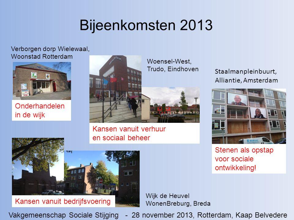 Bijeenkomsten 2013 Wijk de Heuvel WonenBreburg, Breda Onderhandelen in de wijk Kansen vanuit verhuur en sociaal beheer Stenen als opstap voor sociale ontwikkeling.