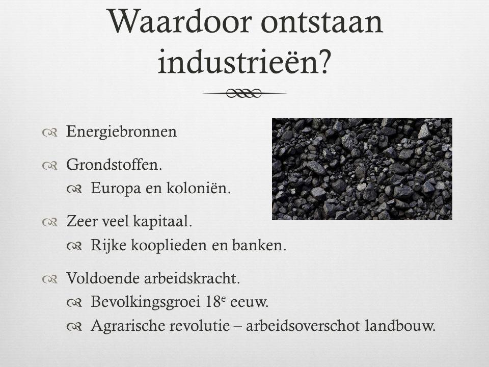 Industriële revolutieIndustriële revolutie  Grote veranderingen in de maatschappij.
