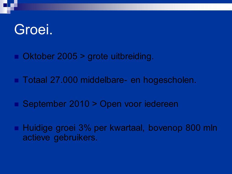 Groei. Oktober 2005 > grote uitbreiding. Totaal 27.000 middelbare- en hogescholen. September 2010 > Open voor iedereen Huidige groei 3% per kwartaal,