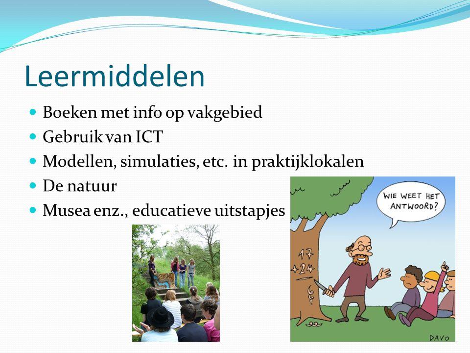 Leermiddelen Boeken met info op vakgebied Gebruik van ICT Modellen, simulaties, etc.