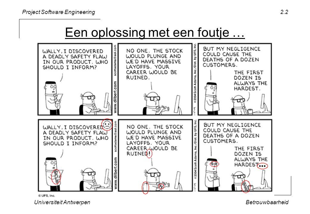 Project Software Engineering Universiteit AntwerpenBetrouwbaarheid 2.2 Een oplossing met een foutje …
