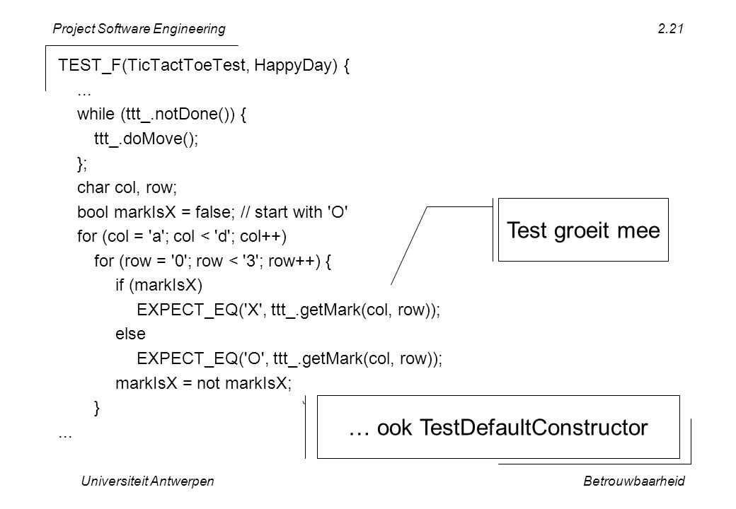 Project Software Engineering Universiteit AntwerpenBetrouwbaarheid 2.21 TEST_F(TicTactToeTest, HappyDay) {...