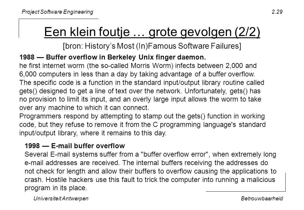 Project Software Engineering Een klein foutje … grote gevolgen (2/2) Universiteit AntwerpenBetrouwbaarheid 2.29 1988 — Buffer overflow in Berkeley Unix finger daemon.