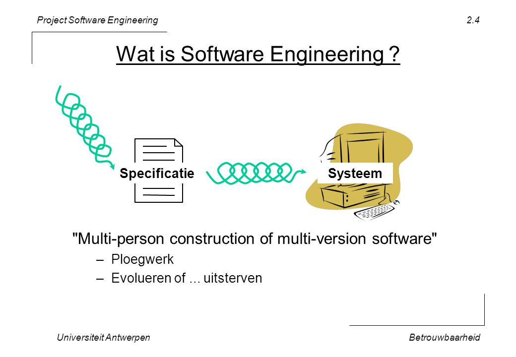 Project Software Engineering Universiteit AntwerpenBetrouwbaarheid 2.4 Wat is Software Engineering .