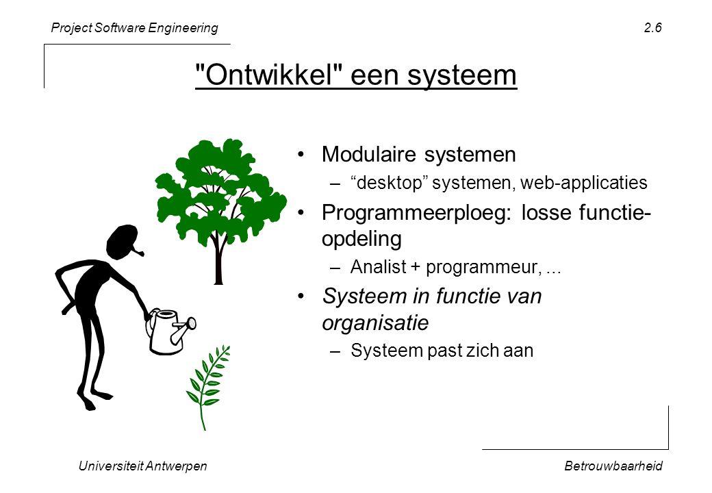 Project Software Engineering Universiteit AntwerpenBetrouwbaarheid 2.7 Vereisten Betrouwbaarheid Aanpasbaarheid Planning Technieken Testen + Contracten Objectgericht ontwerp Tijdsschatting