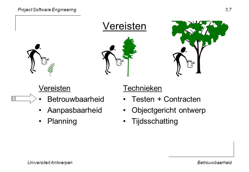 Project Software Engineering Universiteit AntwerpenBetrouwbaarheid 2.38 class TicTacToe { … private: TicTacToe * _initCheck; … }; TicTacToe::TicTacToe() { _initCheck = this; … } bool TicTacToe::properlyInitialized() { return _initCheck == this; } Wijst normaal naar zichzelf na initializatie Object heeft een extra pointer … En kan achteraf geverifiëerd worden