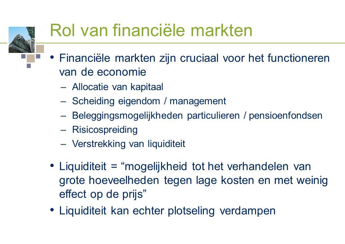 Rol van financiële markten Financiële markten zijn cruciaal voor het functioneren van de economie –Allocatie van kapitaal –Scheiding eigendom / manage