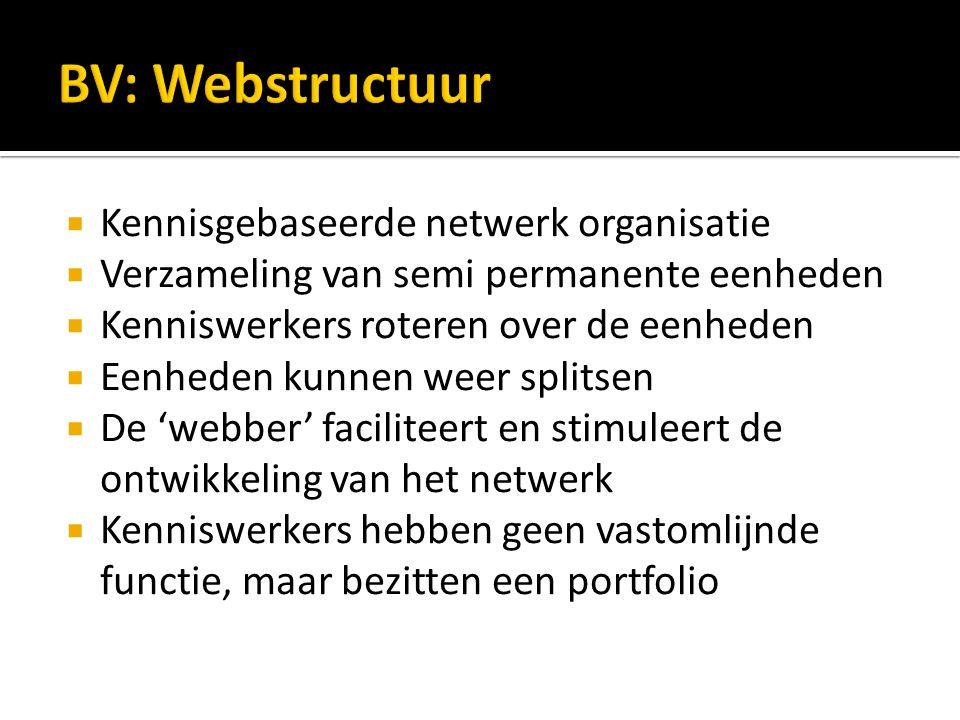  Kennisgebaseerde netwerk organisatie  Verzameling van semi permanente eenheden  Kenniswerkers roteren over de eenheden  Eenheden kunnen weer splitsen  De 'webber' faciliteert en stimuleert de ontwikkeling van het netwerk  Kenniswerkers hebben geen vastomlijnde functie, maar bezitten een portfolio