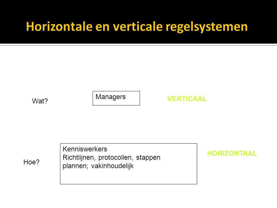 Managers Kenniswerkers Richtlijnen, protocollen, stappen plannen; vakinhoudelijk VERTICAAL HORIZONTAAL Wat.