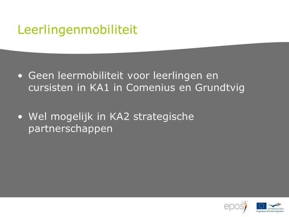 Leerlingenmobiliteit Geen leermobiliteit voor leerlingen en cursisten in KA1 in Comenius en Grundtvig Wel mogelijk in KA2 strategische partnerschappen