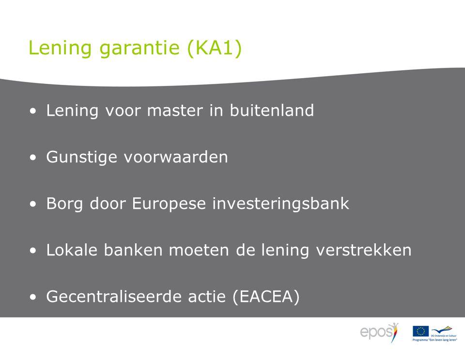 Lening garantie (KA1) Lening voor master in buitenland Gunstige voorwaarden Borg door Europese investeringsbank Lokale banken moeten de lening verstrekken Gecentraliseerde actie (EACEA)