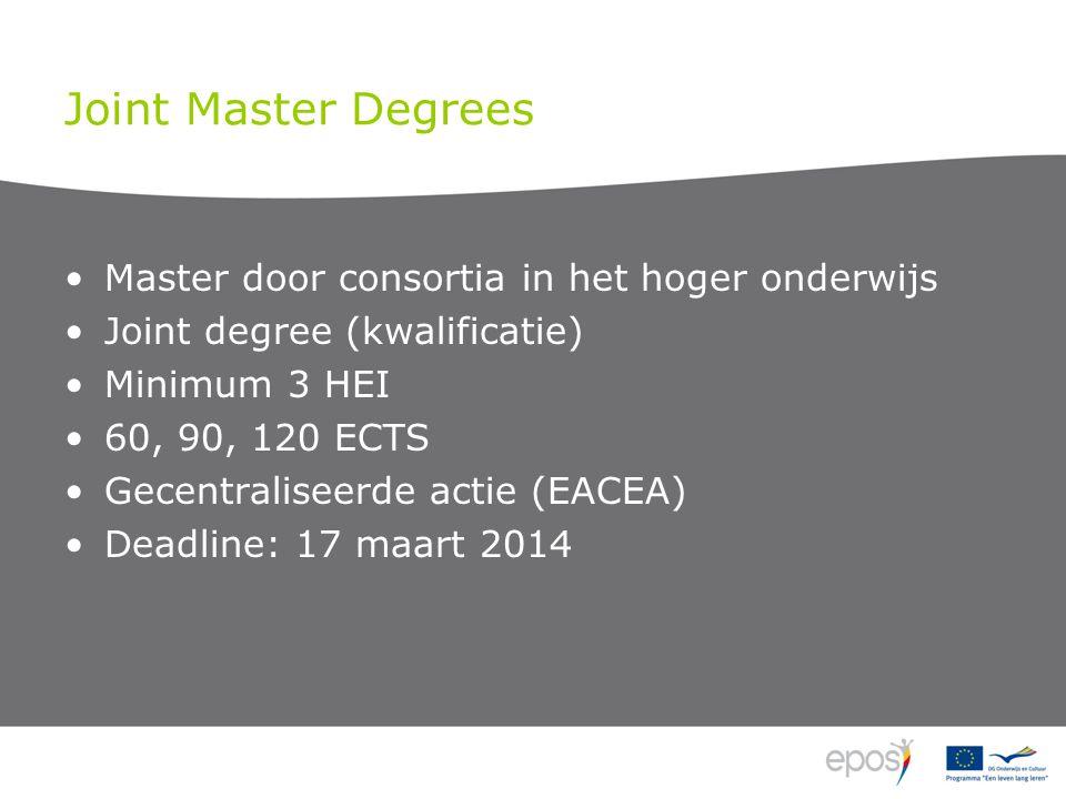 Joint Master Degrees Master door consortia in het hoger onderwijs Joint degree (kwalificatie) Minimum 3 HEI 60, 90, 120 ECTS Gecentraliseerde actie (EACEA) Deadline: 17 maart 2014