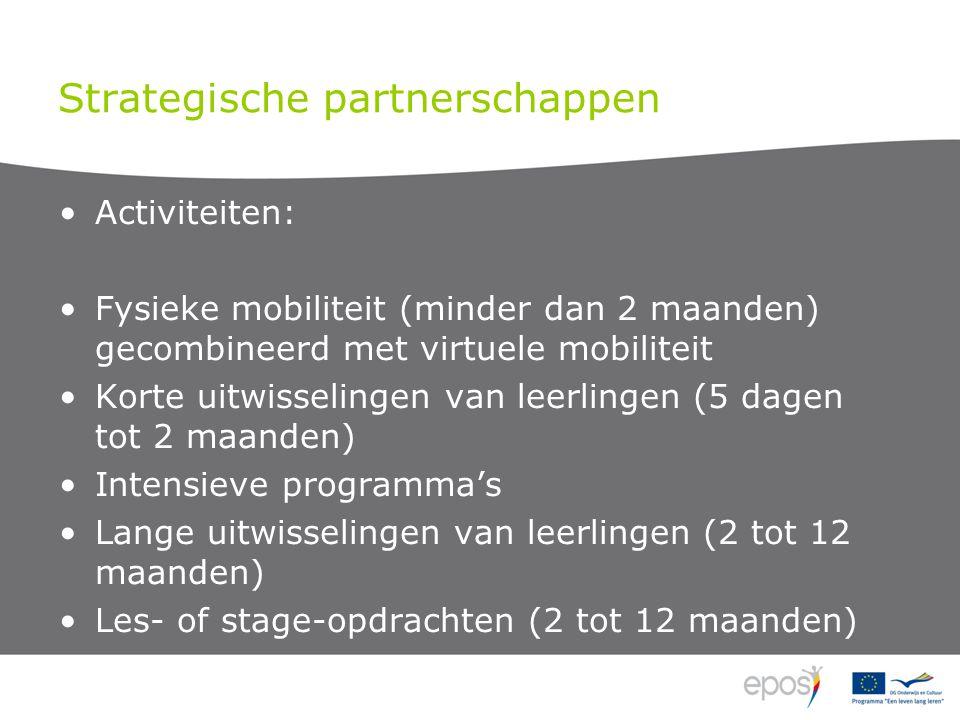 Strategische partnerschappen Activiteiten: Fysieke mobiliteit (minder dan 2 maanden) gecombineerd met virtuele mobiliteit Korte uitwisselingen van leerlingen (5 dagen tot 2 maanden) Intensieve programma's Lange uitwisselingen van leerlingen (2 tot 12 maanden) Les- of stage-opdrachten (2 tot 12 maanden)