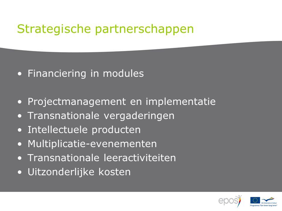 Strategische partnerschappen Financiering in modules Projectmanagement en implementatie Transnationale vergaderingen Intellectuele producten Multiplicatie-evenementen Transnationale leeractiviteiten Uitzonderlijke kosten
