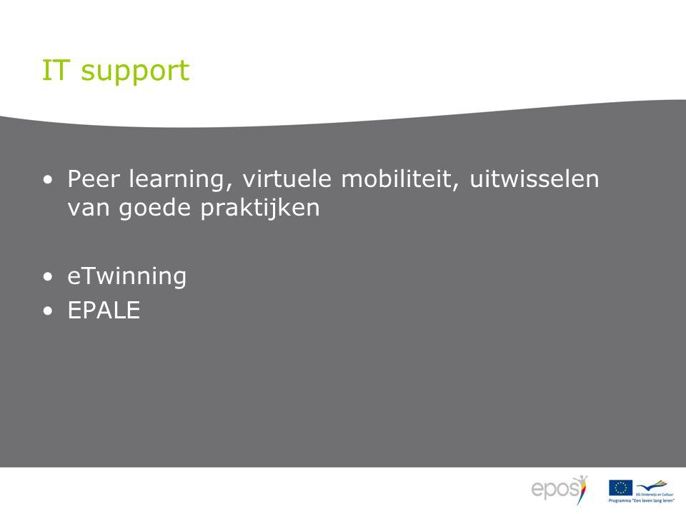 IT support Peer learning, virtuele mobiliteit, uitwisselen van goede praktijken eTwinning EPALE