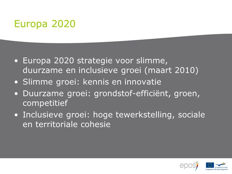 Europa 2020 Europa 2020 strategie voor slimme, duurzame en inclusieve groei (maart 2010) Slimme groei: kennis en innovatie Duurzame groei: grondstof-efficiënt, groen, competitief Inclusieve groei: hoge tewerkstelling, sociale en territoriale cohesie