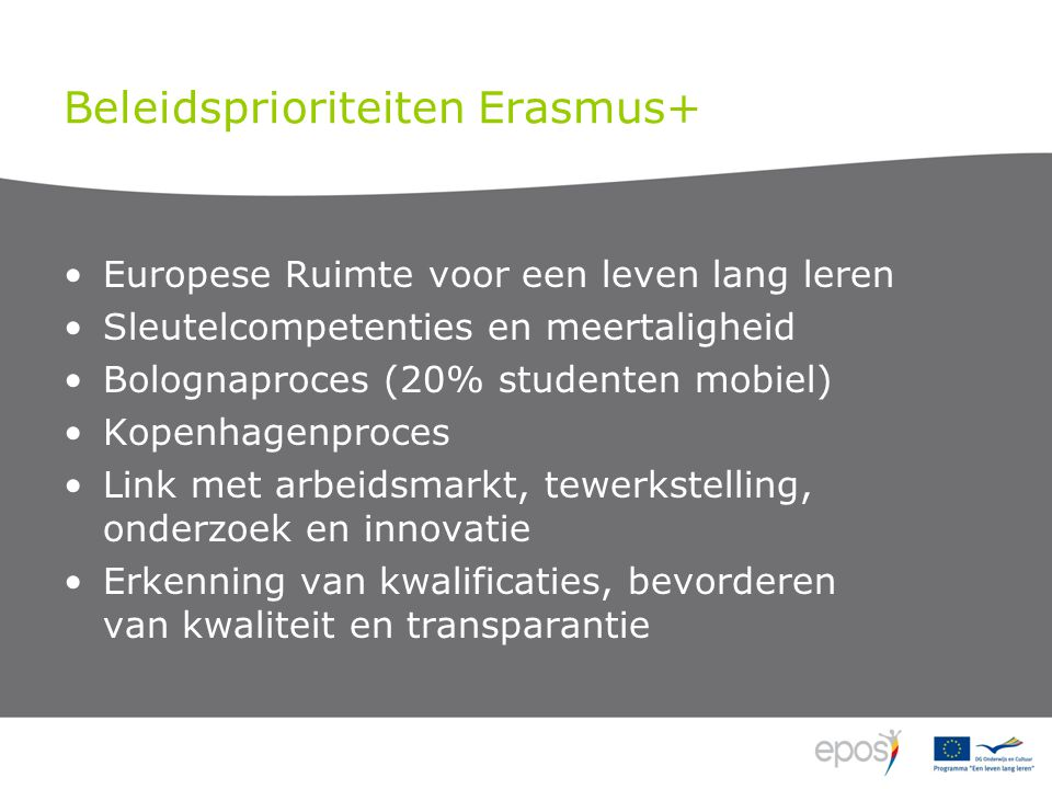 Beleidsprioriteiten Erasmus+ Europese Ruimte voor een leven lang leren Sleutelcompetenties en meertaligheid Bolognaproces (20% studenten mobiel) Kopenhagenproces Link met arbeidsmarkt, tewerkstelling, onderzoek en innovatie Erkenning van kwalificaties, bevorderen van kwaliteit en transparantie